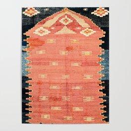South West Anatolia  Antique Turkish Niche Kilim Print Poster