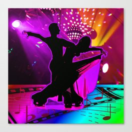 Ballroom Dancers With Stage Lights And Music Symbols Neon Colors Canvas Print