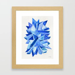 Sapphire Watercolor Facets Framed Art Print