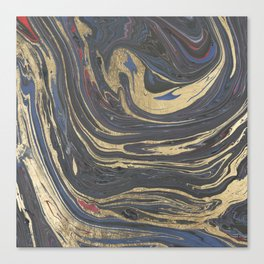 Abstract navy blue gray coral gold marble Canvas Print