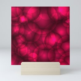 Glowing pink soap circles and volumetric glamorous bubbles of air and water. Mini Art Print