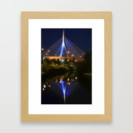 Lenny Zakim Bridge Reflection Boston Ma Framed Art Print