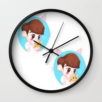 shinee Wall Clocks featuring SHINee cat by sophillustration