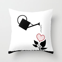 water can watering plant with heart Throw Pillow