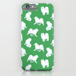 Samoyed Pattern (Green Background) iPhone Case