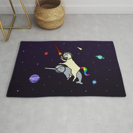 Llamacorn Riding Narwhal In Space Rug