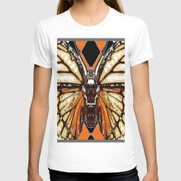 RIBBED WHITE BROWN & BLACK BUTTERFLY WING VEINS T-shirt