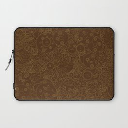 Clockwork Retro / Cogs and clockwork parts lineart pattern in brown and gold Laptop Sleeve