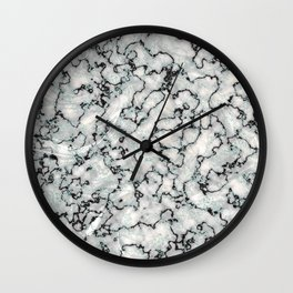 Gray Mint White and Black Metallic Marble Texture Wall Clock