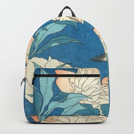 Japanese Flowers Turquoise Peach Backpack