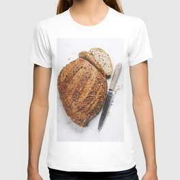 Large loaf of bread on white marble background T-shirt