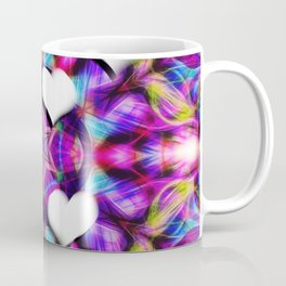 Floating hearts on abstract vibrant kaleidoscope Coffee Mug