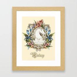 Vintage Floral Horse Crest Framed Art Print