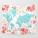 Floral watercolor world map in aquamarine blue by blursbyaishop