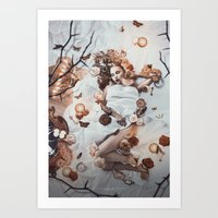sleeping beauty Art Prints featuring Sleeping Beauty by Rose's Creation