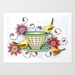 Afternoon Tea & Tweets Art Print