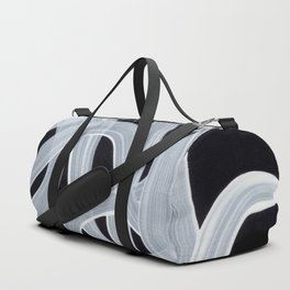 Smoky Black And White Pattern Minimalist Mid Century Ghostly Tribe Art Duffle Bag