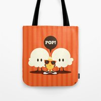 pop art Tote Bags featuring Pop! by Steph Dillon