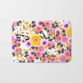 Pink purple lavender yellow hand painted watercolor floral Bath Mat