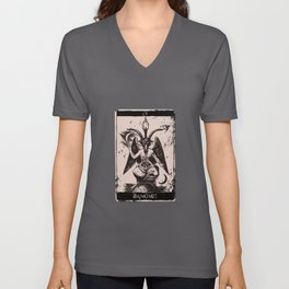Tarot Card Occult The Devil Baphomet Unisex V-Neck