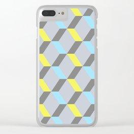 Jaune, bleu et gris Clear iPhone Case