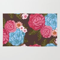 vintage flowers Area & Throw Rugs featuring Vintage Flowers by Anto Del Vecchio