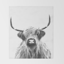 Black and White Highland Cow Portrait Throw Blanket