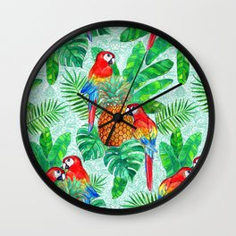 Pineapples and Parrots Tropical Summer Pattern Wall Clock