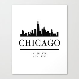 CHICAGO ILLINOIS BLACK SILHOUETTE SKYLINE ART Canvas Print