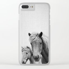 Horses - Black & White Clear iPhone Case
