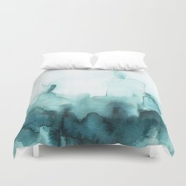 Soft teal abstract watercolor Duvet Cover