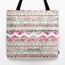 Aztec Spring Time! | Girly Pink White Floral Abstract Aztec Pattern Tote Bag