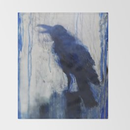 Contemporary Blue Raven Weather Abstract Painting  Throw Blanket