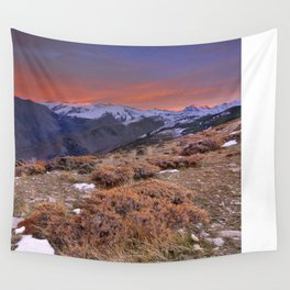"""""""Red sunset over the high mountains"""" Wall Tapestry"""