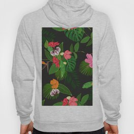 Red, orange, pink hibiscus and heaven bird flowers and tropical leaves pattern black background Hoody