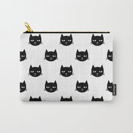 Cat minimal illustration pet cats head drawing digital pattern black and white nursery art Carry-All Pouch