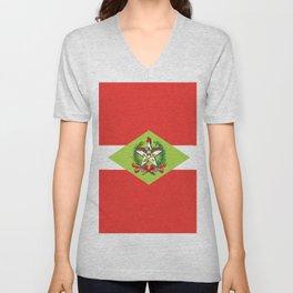 flag of santa catarina Unisex V-Neck