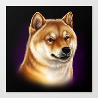 shiba inu Canvas Prints featuring Shiba Inu by Colour Pup