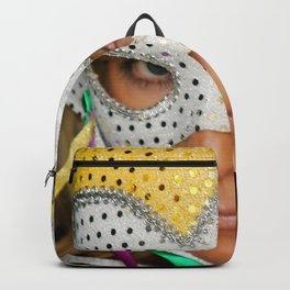 Woman with Mask Backpack