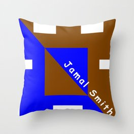 Ninja Square Blue and Brown Throw Pillow