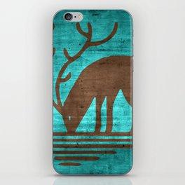 Blue Brown Deer iPhone Skin