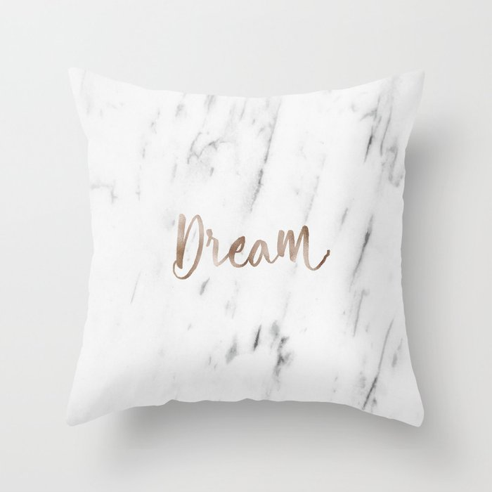 Rose gold marble dream Throw Pillow