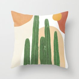 Abstract Cactus I Throw Pillow
