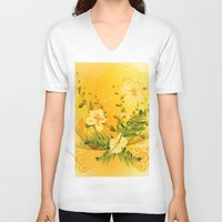 matty healy V-neck T-shirts featuring Wonderful soft yellow flowers by nicky2342