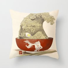 The Great Ramen Wave re-drawn Throw Pillow