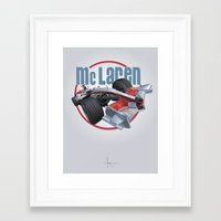 f1 Framed Art Prints featuring McLAREN F1 by orlando arocena ~ olo409- Mexifunk