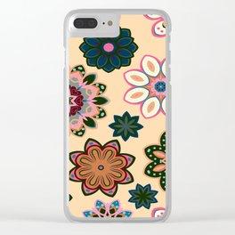 Flower retro pattern. Green pink flowers on beige background. Clear iPhone Case