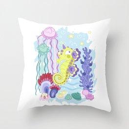 the Majestic Magical Seahorse Unicorn Throw Pillow