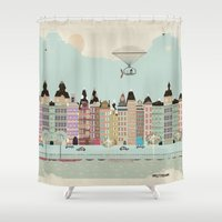 posters Shower Curtains featuring Visit Amsterdam by bri.buckley