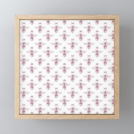 Pink Queen Bee Pattern Framed Mini Art Print